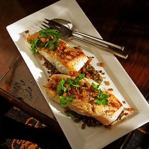 halibut and lentils