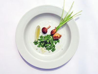baby celery salad with lemon and shitake mushrooms