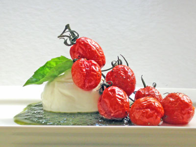 slow roasted caprese salad with buratta