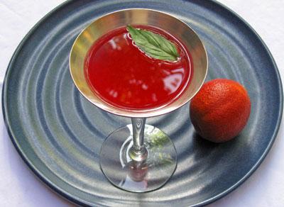 thai basil blood orange cocktail martini on plate