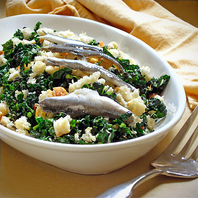 tuscan kale salw with anchovies