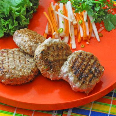 Vietnamese flavored pork burgers