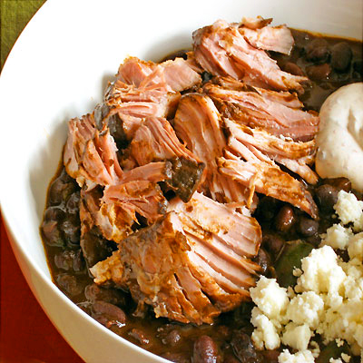 pulled pork with black beans and chilis