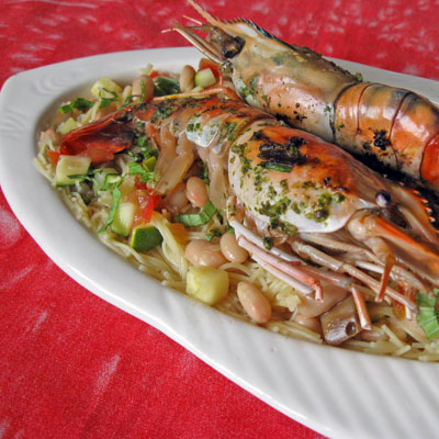 grilled prawns with pistou pasta