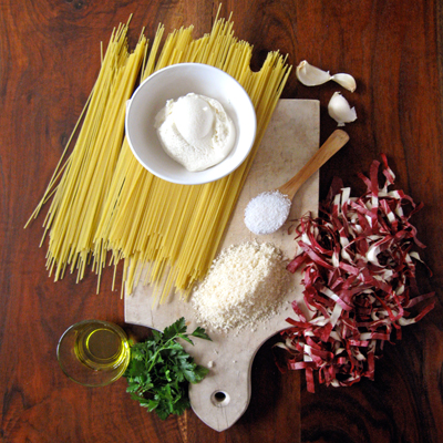 ricotta and ridicchio spaghetti ingredients