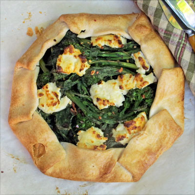 rapini galette with goat cheese