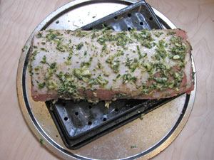 pork loin prepped for oven