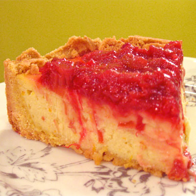 ricotta mascarpone cheesecake with rhubarb topping