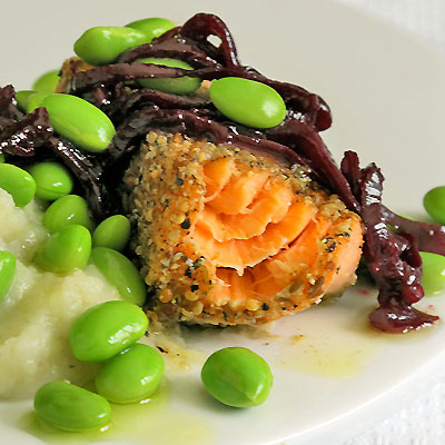 spiced salmon with sunchoke puree Red Wine with Fish