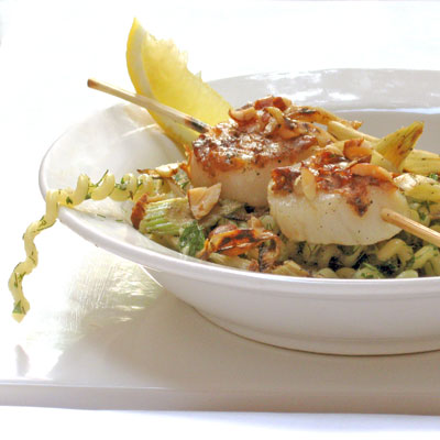 scallop skewers with fennel and fusilli