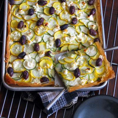 freshly baked summer squash tart