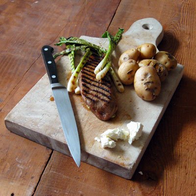 steak and scallions and feta