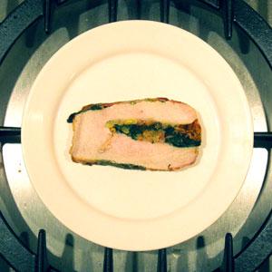 stuffed pork loin chop slice