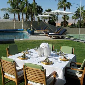 Palm Springs poolside dinner table