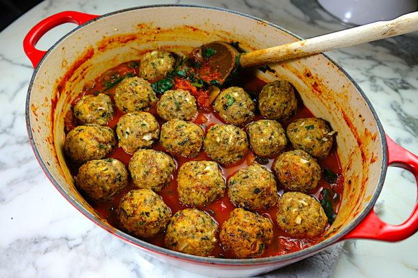 Turkey Meatballs in a Spinach & Mushroom Marinara