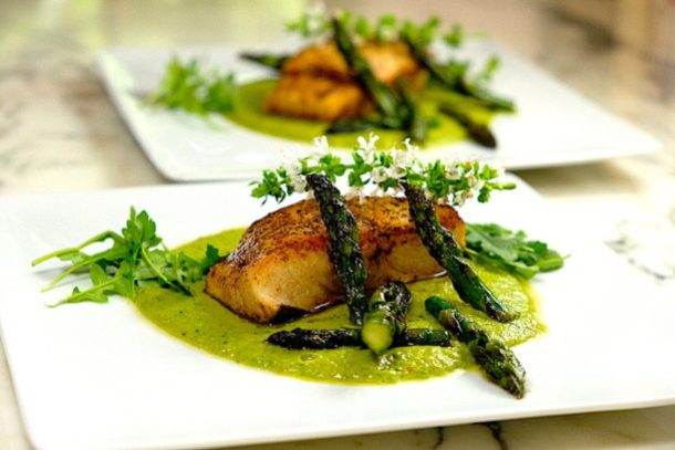 Brown Butter Seared Halibut with Asparagus & Spring Peas Puree