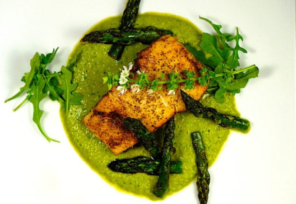 Seared Halibut with Asparagus & Spring Peas Puree