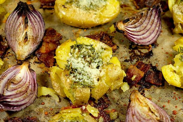 Oven Roasted Rosemary Smashed Potatoes