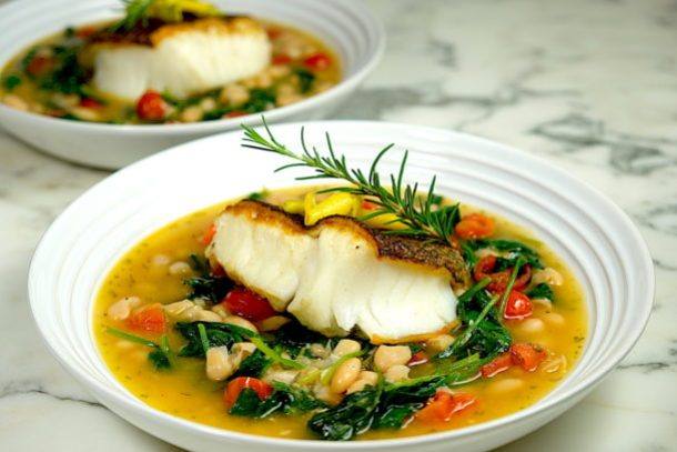 Seared Sea Bass with Cannelloni Beans