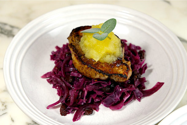 pork chops with braised red cabbage