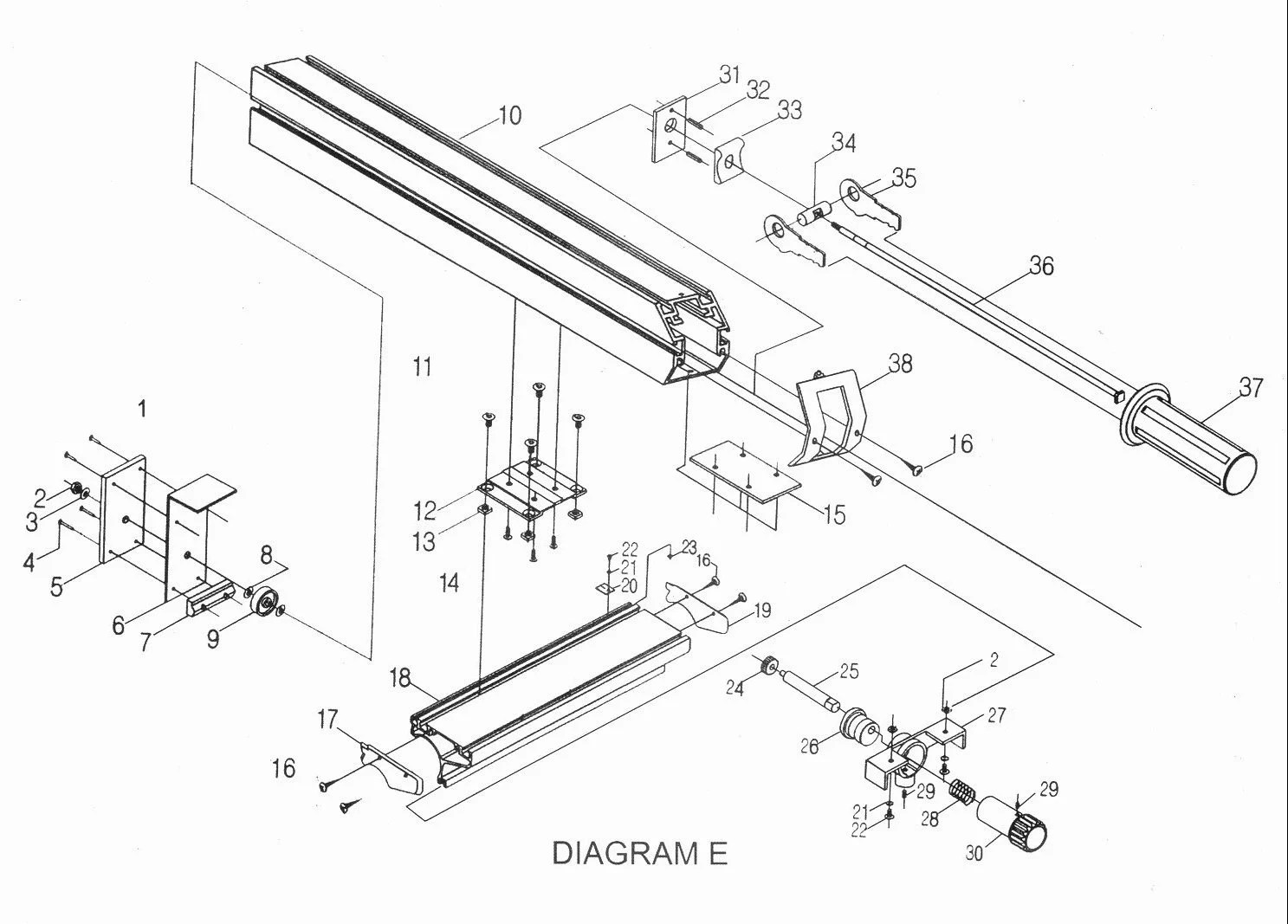 Sip 10 Heavy Duty Table Saw Diagram E
