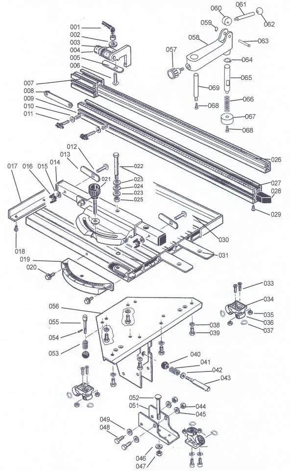SIP 01495 Sliding Carriage For 01332 Table Saw Diagram A
