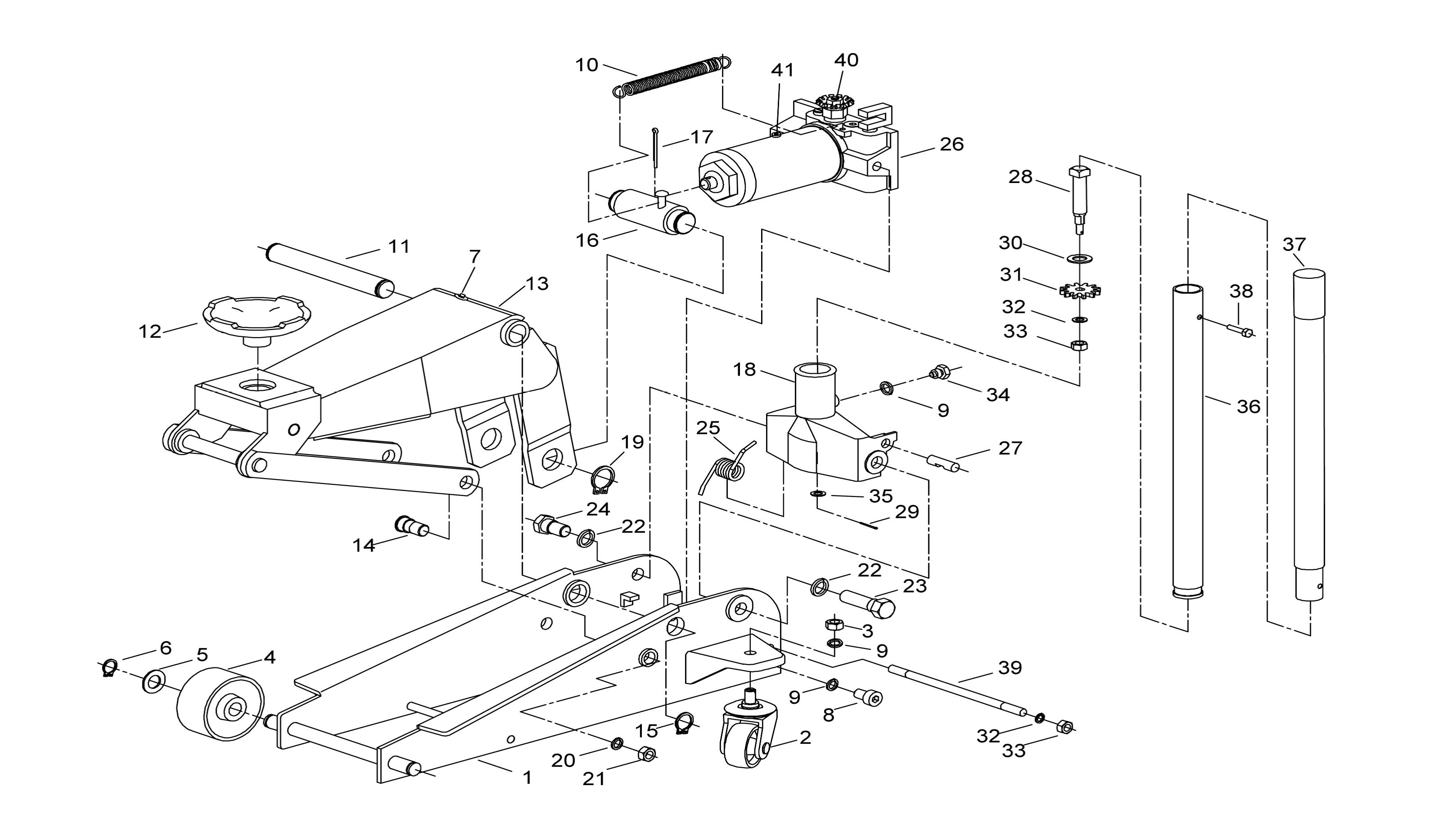 Torin 2 Ton Hydraulic Trolley Jack Parts Diagram