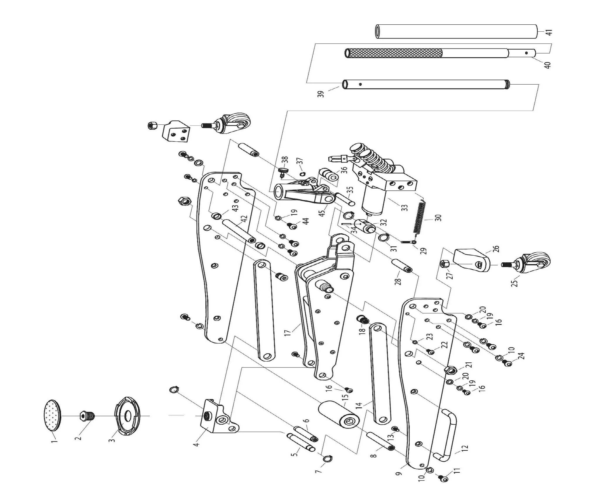 SIP 03673 1.25 Ton Aluminium Racing Jack Diagram
