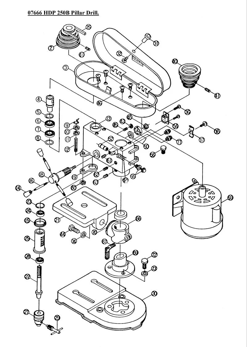 SIP 07966 HDP 250B Pillar Drill Diagram