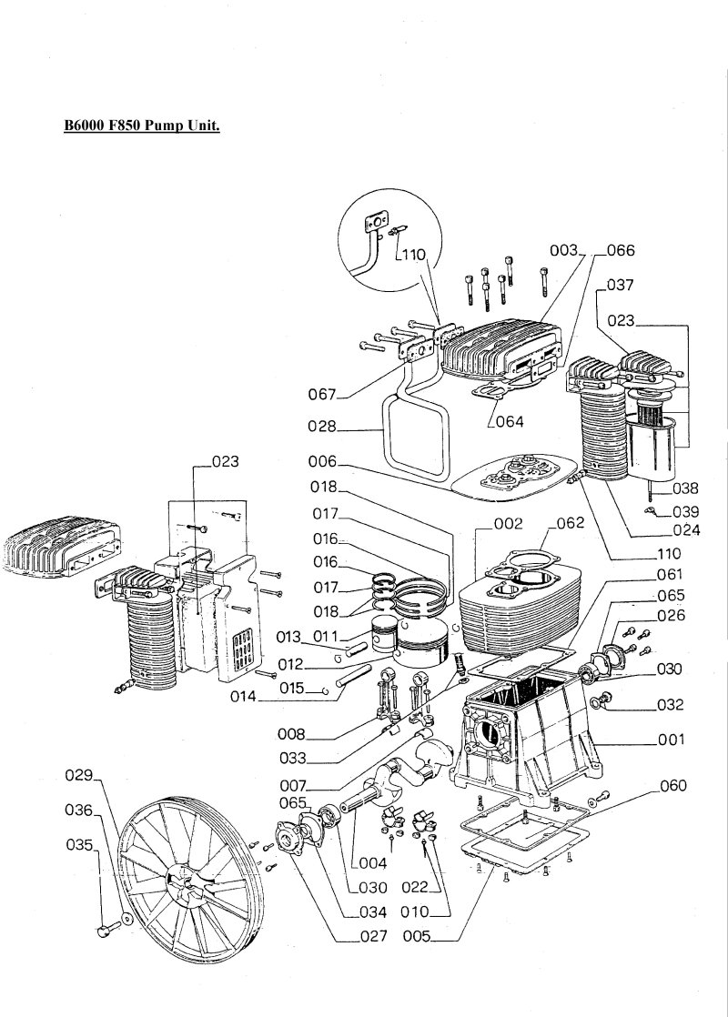 SIP Airstream 7.5HP Compressor Pump Diagram