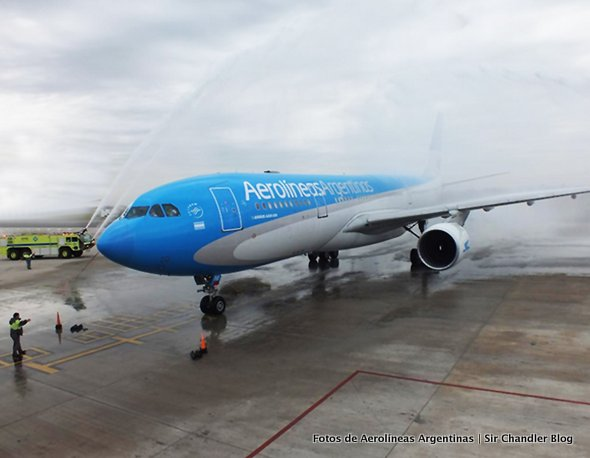 Primer vuelo del Airbus 330 de Aerolíneas rumbo a Ushuaia