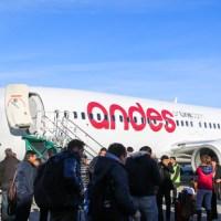 El primer vuelo regular de Andes a Bariloche