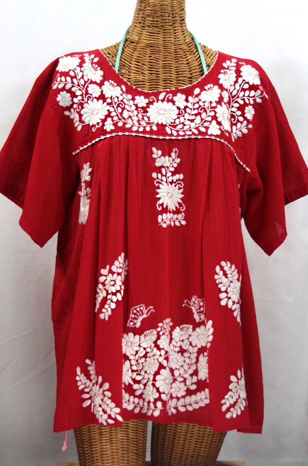 La Mariposa Libre Plus Size Mexican Blouse Red