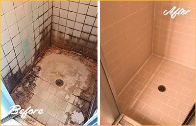 water damage behind shower tiles