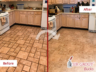 ceramic tile kitchen single bowl stainless sink our team of and grout cleaners refreshed this beautiful before after picture a floor in souderton pennsylvania