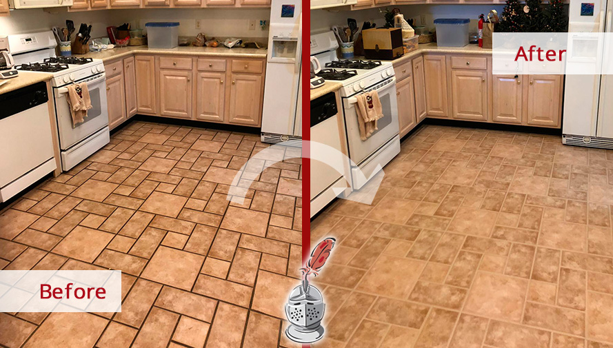 ceramic tile for kitchen melamine cabinets our team of and grout cleaners refreshed this beautiful before after picture a floor in souderton pennsylvania