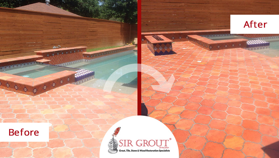 this saltillo tile pool deck in houston