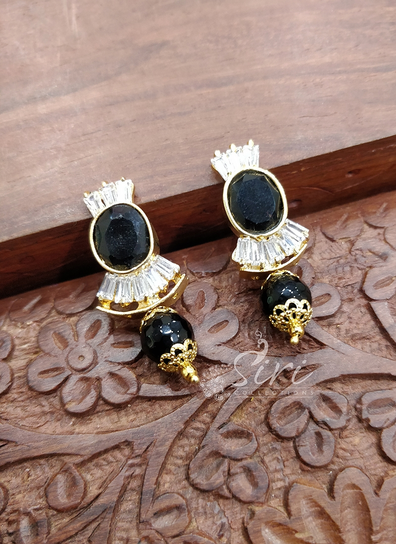 Black Stone Beads CZs Earrings