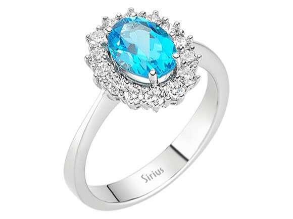 Entrouge Topas Diamant Ring Diamantring 18 Karat Weissgold