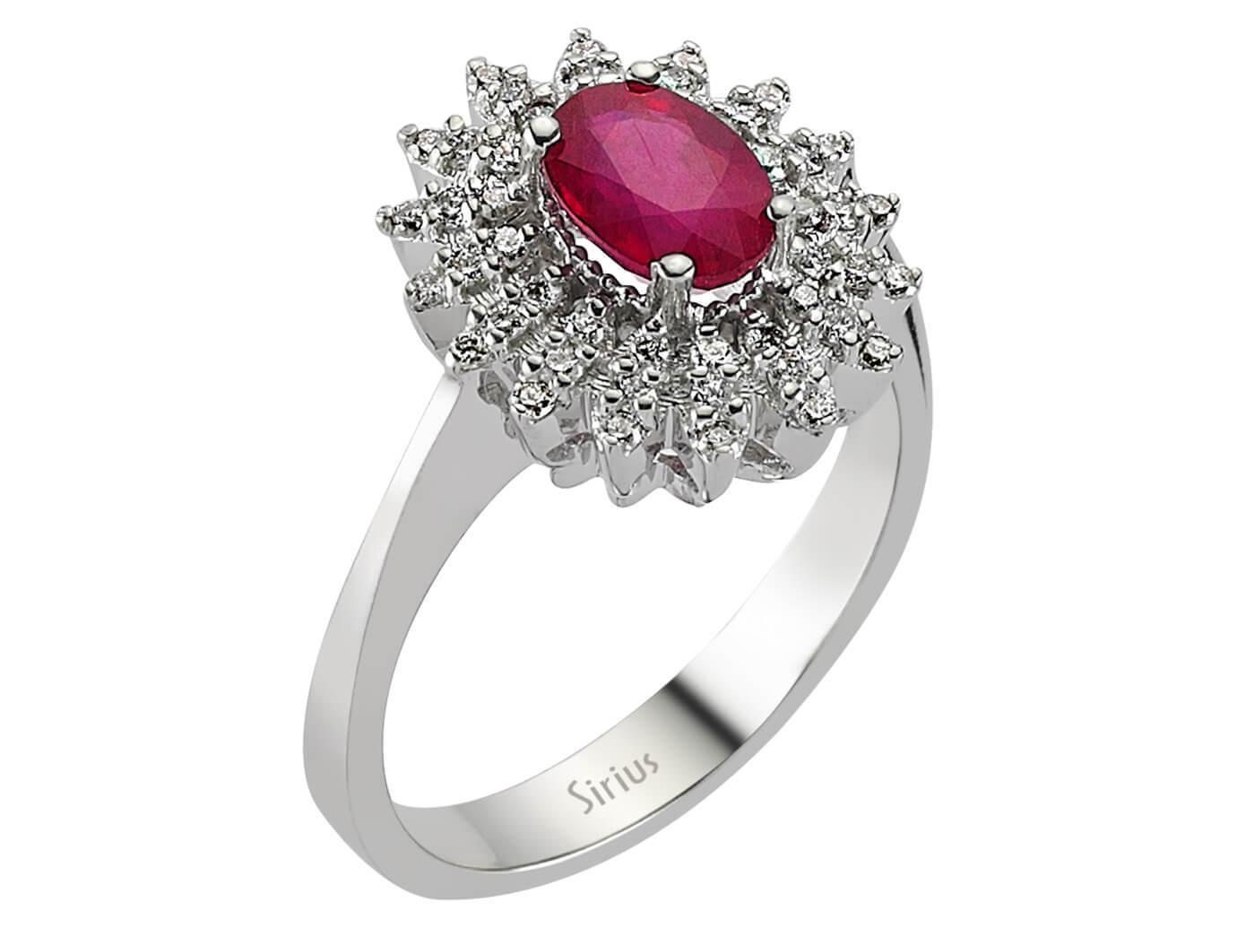 Entourage Rubin  Diamant Ring in 750 er 18 Karat Weissgold