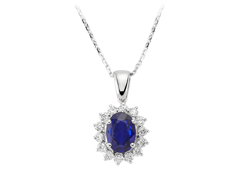 Entourage Saphir Diamant Anhnger mit Kette 18 Karat Weissgold