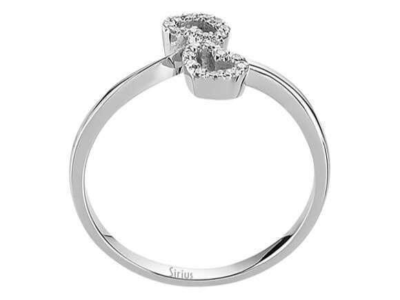 Zwei Herzen Diamant Ring Diamantring Weissgold 18 Karat