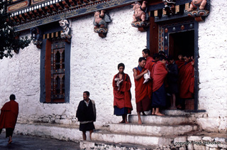 Monks Emerge From Doorway