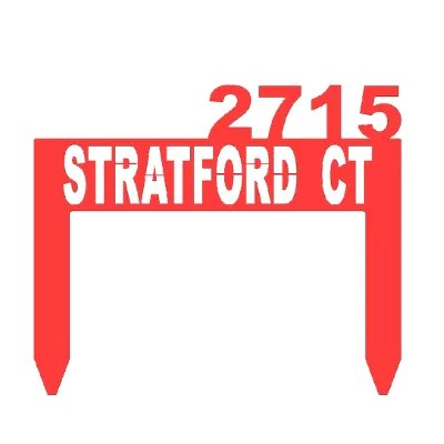 address sign stake red example