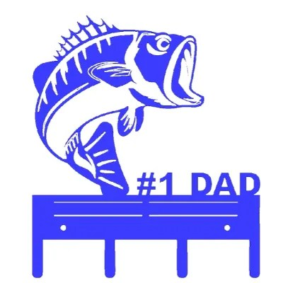 key holder fish dad blue