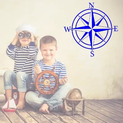 compass rose sign in kids room