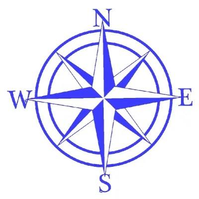 blue metal compass sign
