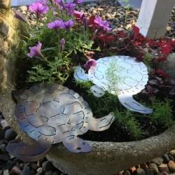 garden turtle in planter