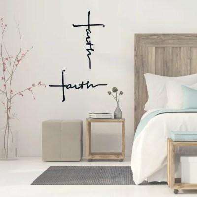metal faith cross in room