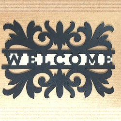 metal welcome scroll sign with white backplate